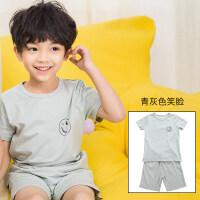 儿童睡衣夏季纯棉宝宝家居服男童女童短袖短裤套装薄款男孩空调服