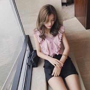 谜秀 雪纺衫女无袖2017夏装新款韩版宽松夏季V领衬衫女装上衣潮