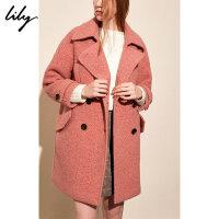 【限时秒杀价:309元】 Lily春秋新款女装年轻OL大翻领深粉红宽松羊毛大衣毛呢外套1967