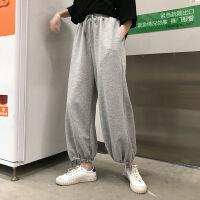 2019秋冬裤子女宽松休闲韩版加绒加厚束脚老爹灯笼灰色运动裤
