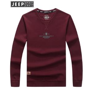 JEEP吉普男士圆领T恤春秋简约薄款套头衫户外男款长t纯色舒适打底衫