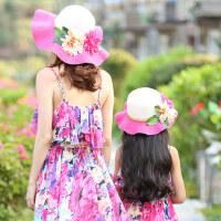 儿童草帽女童海边母女波浪边沙滩帽子韩版亲子防晒帽太阳帽