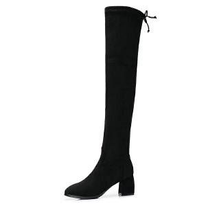 camel/骆驼女鞋2017秋冬新款时尚摩登弹力布长靴女过膝靴高跟长筒靴