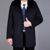 冬季男士中长款毛呢大衣中年老年羊毛羊绒加厚呢子带毛领爸爸外套