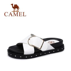 camel骆驼女鞋 夏季新款韩版简约凉拖 百搭厚底显瘦拖鞋