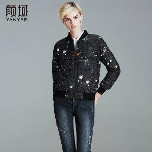 颜域品牌女装2017冬季新款修身立领棉衣保暖外套印花短款羽绒服女