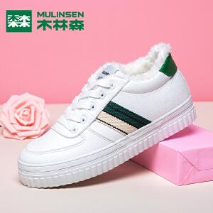 木林森女鞋冬季加绒保暖棉鞋厚底松糕鞋韩版学生百搭系带休闲板鞋
