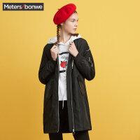 美特斯邦威风衣女士秋冬装潮流修身显瘦学生中长款棉服休闲外套