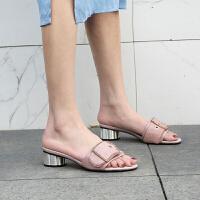 野图品牌女鞋子2019夏季异型中低跟豆沙橡皮粉红色真皮马毛外穿一字凉拖鞋