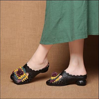 拖鞋女夏外穿包头软底复古中跟凉拖鞋女民族风花朵女鞋洞洞鞋
