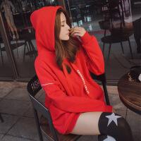 卡茗语2017新款韩版中长款卫衣 冬加绒加厚chic纯色连帽套头宽松卫衣女