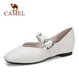 Camel 骆驼软妹平底鞋女式小皮鞋2018春新款平跟一字扣单鞋原宿百搭女鞋