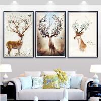 十字绣吉祥鹿客厅三联画欧式印花十字绣吉祥鹿新款小幅画动物麋鹿简约现代线绣