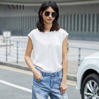 Amii[极简主义]夏装新品纯色V领穿插个性半袖雪纺衫11742639