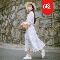 魅儿2018春季新款文艺清新印花雪纺裙子木耳边领收腰长袖连衣裙GH093 白色 均码