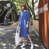孕妇夏装连衣裙2018新款韩版大码孕妇装T恤长款短袖条纹夏季长裙 蓝色