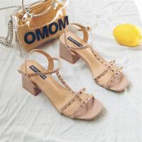 凉鞋女夏天新款仙女晚晚搭配裙子穿的鞋子网红一字扣性感粗高跟鞋夏季百搭凉鞋