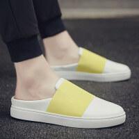 夏季拖鞋韩版潮流室外男士凉鞋个性凉拖外穿无后跟懒人帆布半拖鞋夏季百搭鞋