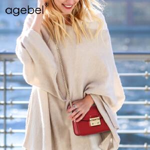 艾吉贝2017新款牛皮链条迷你包斜跨小方包单肩包小包包斜挎包女包大号