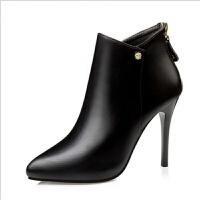 舒适好看!时尚新品全皮短靴细跟马丁靴女高跟鞋欧美新款秋冬后拉链优雅及踝靴青春靓丽
