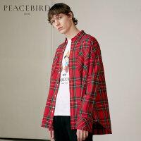太平鸟男装秋新款青年红色格子衬衣纯棉韩版长袖衬衫