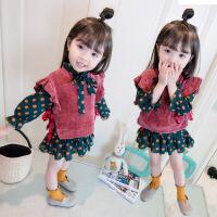 女童春秋套装衣服公主两件套裙子女宝宝洋气秋季潮