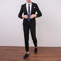 小西装男套装修身韩版英伦风帅气男士休闲西服外套新郎结婚礼服 黑色 8801
