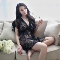 2018新款黑色蕾丝性感睡衣情调衣人女式夏火辣情趣镂空两件套诱惑睡裙 黑色 均码