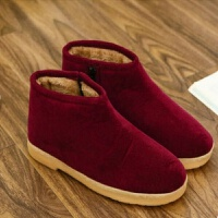 手工棉鞋女冬季保暖家居家室内外中老年人男厚底包跟鞋防寒鞋