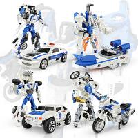儿童合金变形玩具金刚合体机器人飞机摩托警察车模型男孩礼物