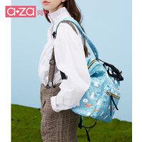 aza2019新款女士ins韩版双肩包印花背包潮流旅行包百搭尼龙妈咪包