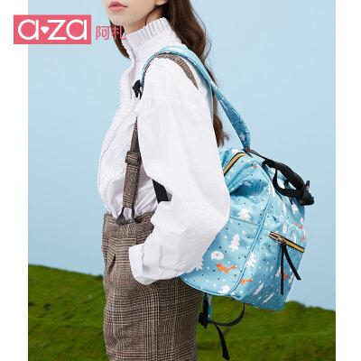 aza2019新款女士ins韩版双肩包印花背包潮流旅行包百搭尼龙妈咪包 印花潮流图案尼龙妈咪包双肩包