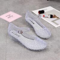 20190923041022845水晶女鞋坡跟凉鞋中跟一字扣带包头夏季凉鞋女中空果冻新款2019