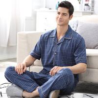 甜梦莱男士睡衣春夏季短袖男式纯棉薄款中老年加大码长裤男款家居服套装