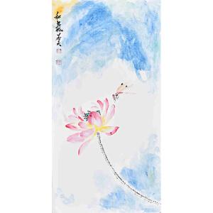 【卡纸】当代花鸟画家 朱老师  65 X 33CM 《和气》 HN12735