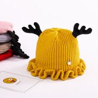 秋冬宝宝毛线鹿角帽子儿童女童婴儿男童女孩潮针织帽0-1-3岁