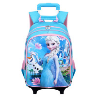 迪士尼 拉杆书包1~4年级学生书包6轮可拆卸配防雨罩冰雪公主