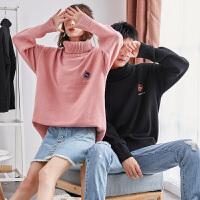 限时抢购价129唐狮情侣毛衣冬季新款高领毛衣男女情侣装韩版宽松针织衫潮流个性