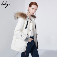 Lily秋冬新款女装帅气白鸭绒毛领收腰短款羽绒服118420D1572