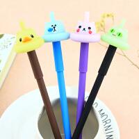 韩国 学生用中性笔全针管0.38mm黑色水笔可爱会发光的陀螺中性笔