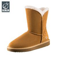 思凯乐户外雪地靴女中高帮增高加绒保暖透气防滑徒步鞋X8097537