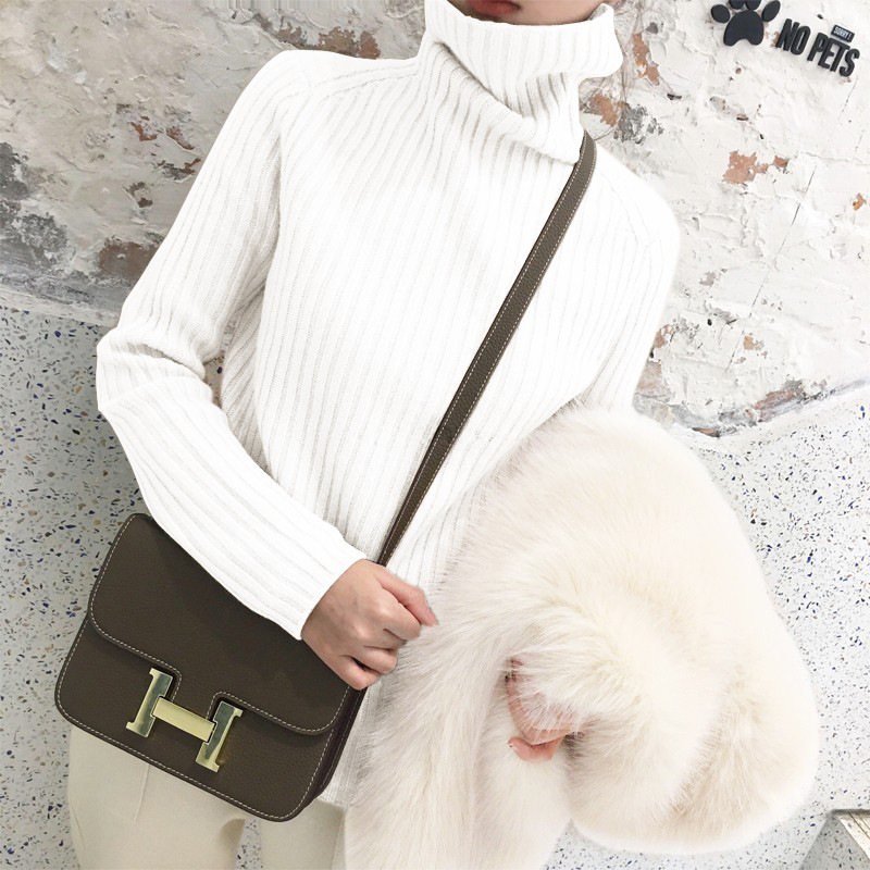 №【2019新款】冬天美女穿的很仙的毛衣女百搭甜美小清新高领宽松网红针织羊绒衫