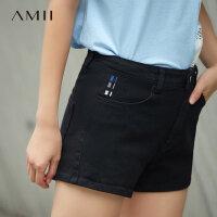 Amii[极简主义]2017夏装新款撞色绣花几何后袋牛仔短裤女11732615