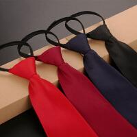 男女学生红蓝黑单色纯色职业上班正装拉链易拉得懒人领带