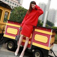 红色连衣裙秋冬女2018新款气质时髦套装慵懒风宽松毛衣裙针织长裙 大红色 S