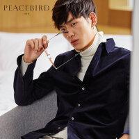 太平鸟男装 男士青年秋季新款深蓝色尖领衬衣灯芯绒长袖衬衫外套