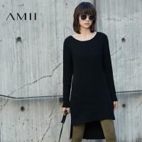 【AMII 超级品牌日】AMII[极简主义]女冬新品纯色撞纹落差下摆落肩连衣裙11673451
