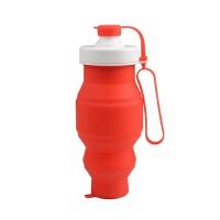 维莱 创意硅胶伸缩水壶户外登山旅行折叠饮水杯大容量运动水杯 红