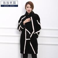 当当优品 女士皮草 羊剪绒外套 中长款 时尚羊毛大衣W1715黑色 3XL