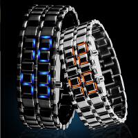 时刻美时尚个性创意熔岩led防水手表 男女士情侣手链复古手表腕表